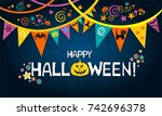happy halloween. greeting card. ... | Shutterstock .eps vector #742696378