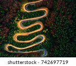 aerial view of light trails on... | Shutterstock . vector #742697719