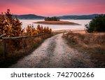 batak reservoir   lake and dam... | Shutterstock . vector #742700266