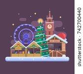 winter fair in christmas town... | Shutterstock . vector #742700440