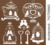 set with cages and birds | Shutterstock .eps vector #742700860