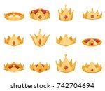 polygonal royal crown power... | Shutterstock .eps vector #742704694