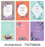 wedding invitation card... | Shutterstock .eps vector #742708606