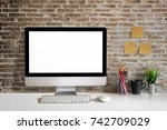 mock up desktop on white wood... | Shutterstock . vector #742709029