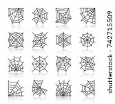 spider web black thin line with ... | Shutterstock .eps vector #742715509
