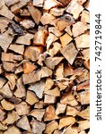 cut wood  firewood for the... | Shutterstock . vector #742719844
