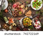 flat lay of delicious christmas ... | Shutterstock . vector #742722169
