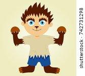 a cute halloween costume. a boy ... | Shutterstock .eps vector #742731298