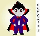 a cute halloween costume. a boy ... | Shutterstock .eps vector #742733128