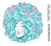 the girl face  eyes closed ... | Shutterstock .eps vector #742733710