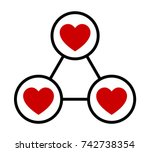 love triangle or polygamy  ... | Shutterstock .eps vector #742738354
