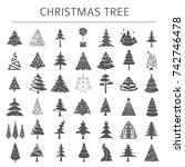 christmas tree icon set. flat... | Shutterstock .eps vector #742746478