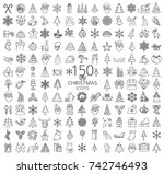 christmas  new year holidays... | Shutterstock .eps vector #742746493