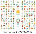 christmas  new year holidays... | Shutterstock .eps vector #742746514