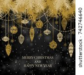 new year and merry christmas... | Shutterstock .eps vector #742746640