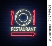 restaurant logo  sign  emblem... | Shutterstock .eps vector #742749808
