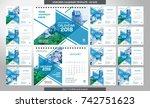 desk calendar 2018 template  ... | Shutterstock .eps vector #742751623