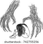 vector art drawing of sad... | Shutterstock .eps vector #742755256