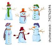 a set of christmas  winter... | Shutterstock .eps vector #742762696