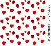 naturalistic rose petals on... | Shutterstock .eps vector #742773730