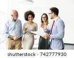 portrait of multiracial... | Shutterstock . vector #742777930