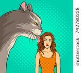 cat licks the girl pop art... | Shutterstock .eps vector #742780228