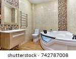 bathroom with a beautiful... | Shutterstock . vector #742787008