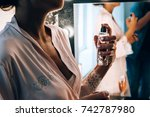 bride with perfume | Shutterstock . vector #742787980