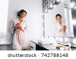 morning of the bride. the bride ... | Shutterstock . vector #742788148