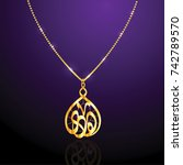 golden necklace with crystal... | Shutterstock .eps vector #742789570