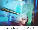 colorful vial with dry ice for... | Shutterstock . vector #742791544