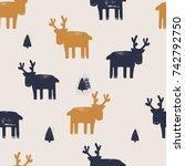 deer seamless pattern.can be... | Shutterstock .eps vector #742792750
