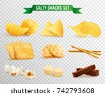 collection of salty snacks... | Shutterstock .eps vector #742793608