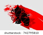 silhouette of cup rugby and the ... | Shutterstock .eps vector #742795810