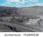 open pit mine  breed sorting ... | Shutterstock . vector #742800538