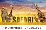 elephant  giraffes  zebra and... | Shutterstock . vector #742801993