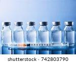 row of vials with medication... | Shutterstock . vector #742803790