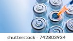 group of vials with medication... | Shutterstock . vector #742803934