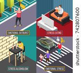 stress people isometric concept ... | Shutterstock .eps vector #742807600