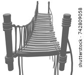 rope bridge isolated on white... | Shutterstock .eps vector #742809058