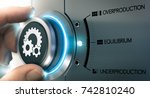 hand turning a knob over... | Shutterstock . vector #742810240
