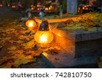 colorful candles on the... | Shutterstock . vector #742810750