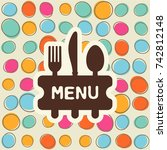 fork  spoon and knife with a... | Shutterstock .eps vector #742812148