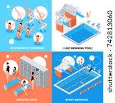 isometric swimming pool design...   Shutterstock .eps vector #742813060