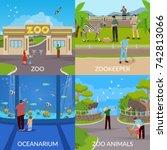 zoo 2x2 design concept set of... | Shutterstock .eps vector #742813066