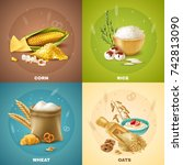 four isolated cereals design... | Shutterstock .eps vector #742813090