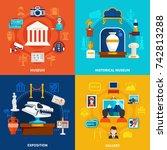 museum 2x2 design concept set... | Shutterstock .eps vector #742813288
