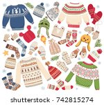 big christmas collection of... | Shutterstock .eps vector #742815274