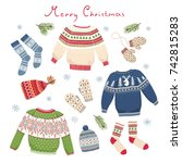 christmas card with knitted... | Shutterstock .eps vector #742815283
