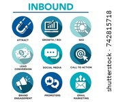 solid inbound marketing vector... | Shutterstock .eps vector #742815718
